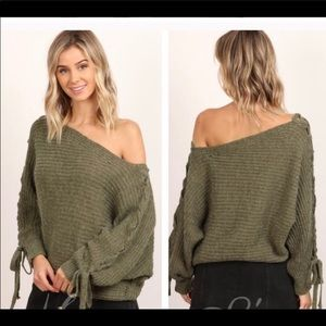 Olive Lace Up Ribbed Sweaters